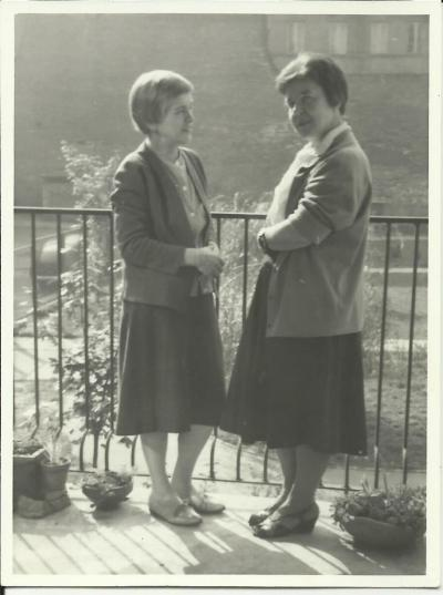 Janina Kłopocka with her friend, Felicja Wacyk, the wife of Antoni Wacyk, on the balcony of her Warsaw apartment  at 12 Chmielna street.
