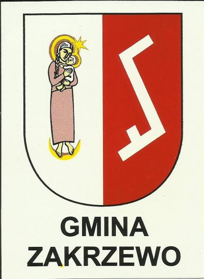 The coat of arms of the village of Zakrzewo, featuring the Rodło emblem.