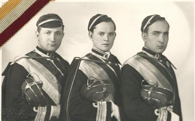 Members of the student fraternityK! Gedania Posnaniensis; Kazimierz Odrobny on the far left, 1930s.