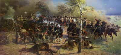 Wojciech Kossak: The Battle of Zorndorf, 1899, oil on canvas, 270 x 600 cm, Potsdam Museum.